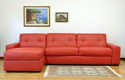 corner sofa / bed / contemporary / leather