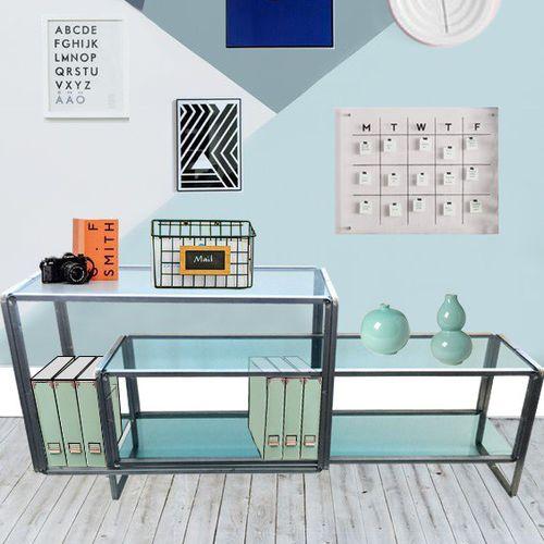 low shelf / contemporary / metal / glass