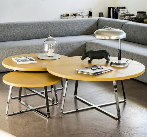 contemporary coffee table / metal / leather / round