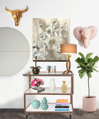 low shelf / on casters / contemporary / painted steel
