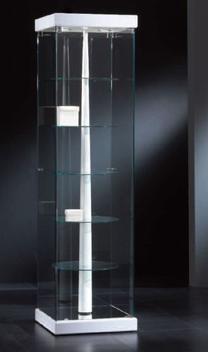 contemporary display case / with legs / glass / lacquered wood
