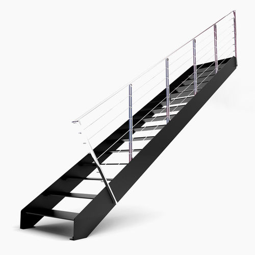straight staircase / metal frame / metal steps / without risers