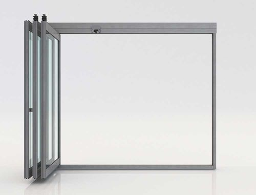 folding partition / aluminum / glazed / professional