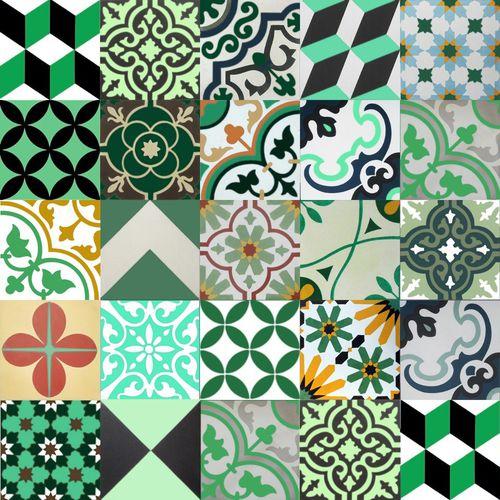 patchwork encaustic cement tile