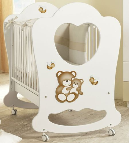 contemporary baby bed / on casters / wooden