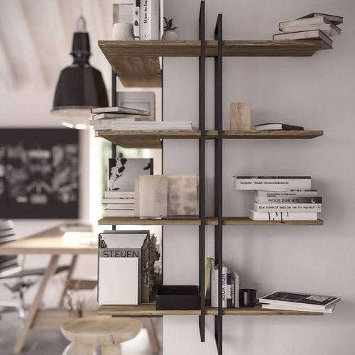 wall-mounted shelving system / contemporary / iron / wooden