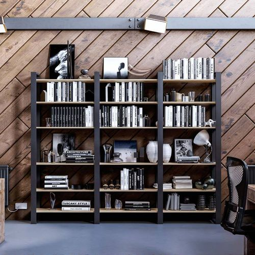 self-supporting shelving system / contemporary / aluminum / wooden