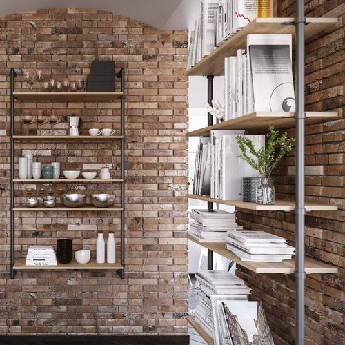 wall-mounted shelf / modular / industrial design / wooden