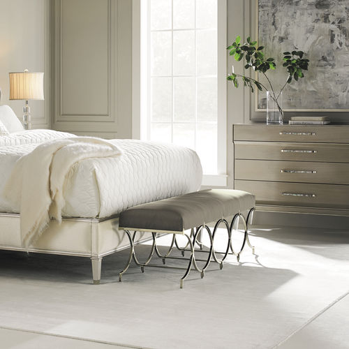 traditional upholstered bench / silk / stainless steel / gray