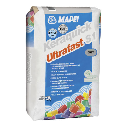 fixing adhesive mortar / for tiles / cement / quick-set