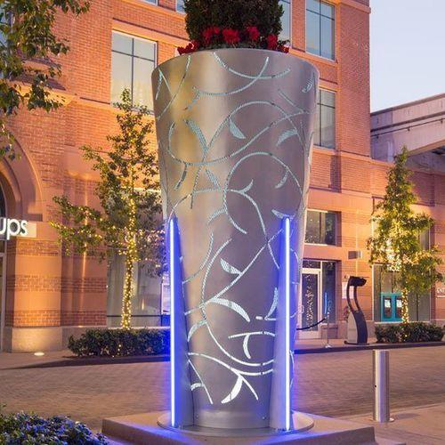 aluminum planter / conical / custom / illuminated