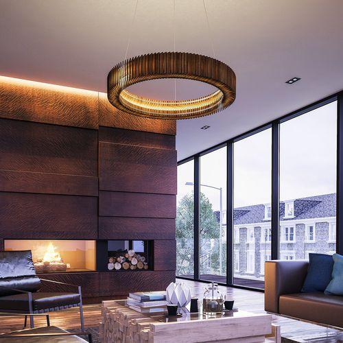 contemporary chandelier / oak / LED / handmade