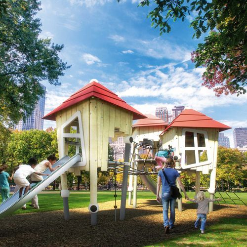playground play structure / for public buildings / for public entity / wooden