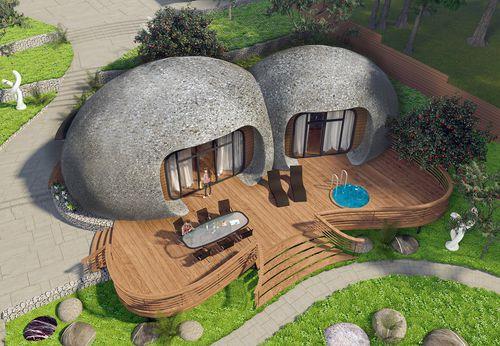bungalow type house / original design / concrete / energy-efficient