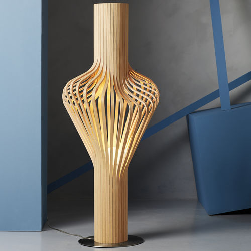 floor lamp / original design / polished steel / blown glass