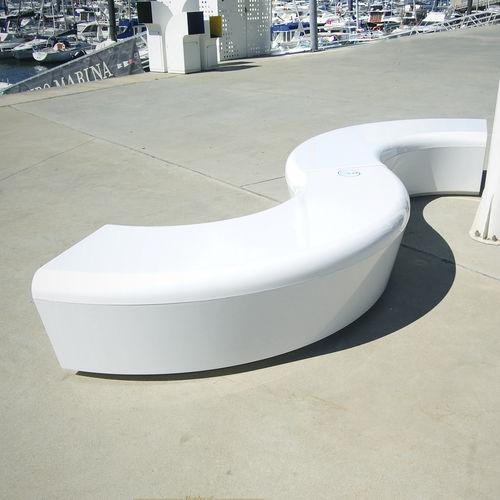 public bench / minimalist design / fiberglass / resin