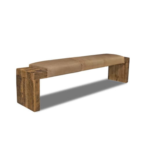 traditional upholstered bench / leather / oak / contract