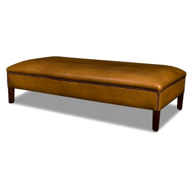 traditional upholstered bench / leather / wooden / contract