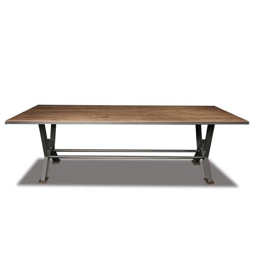 traditional dining table / oak / steel / rectangular