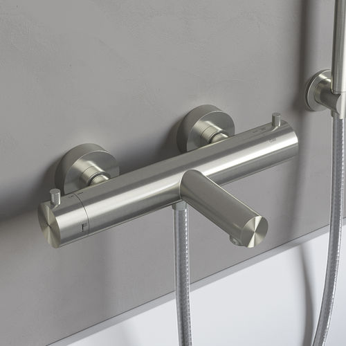 bathtub mixer tap / wall-mounted / stainless steel / thermostatic