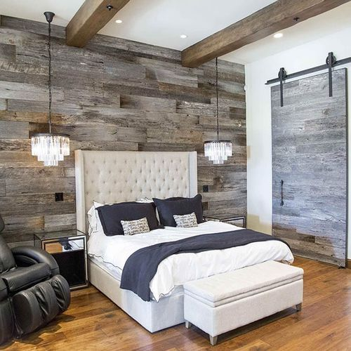 wall-mounted paneling / oak