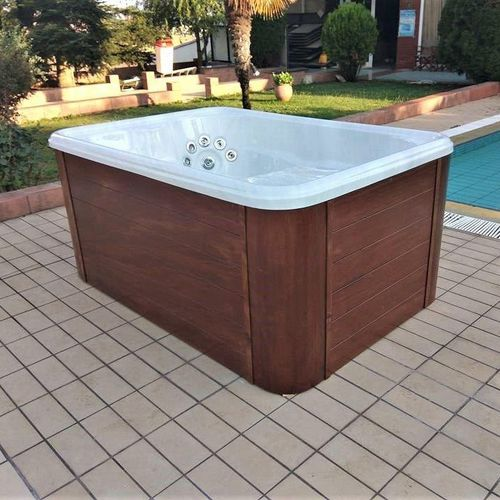 wooden bathtub / acrylic / deep / 3-seater