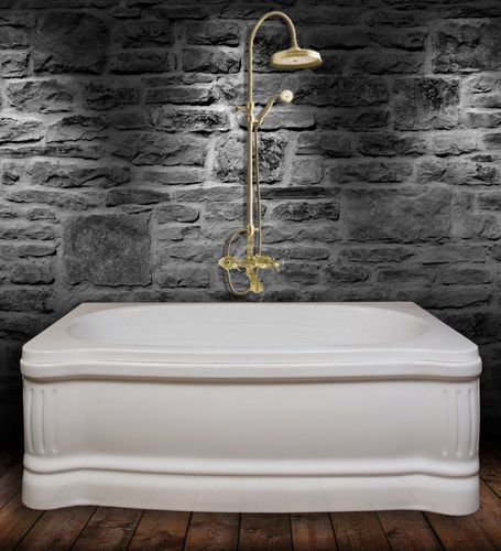 free-standing bathtub-shower combination / rectangular / acrylic / hydromassage