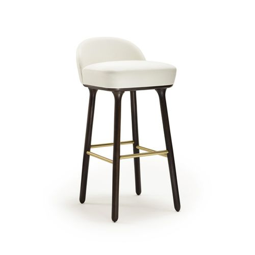 contemporary bar stool / leather / wooden / fabric
