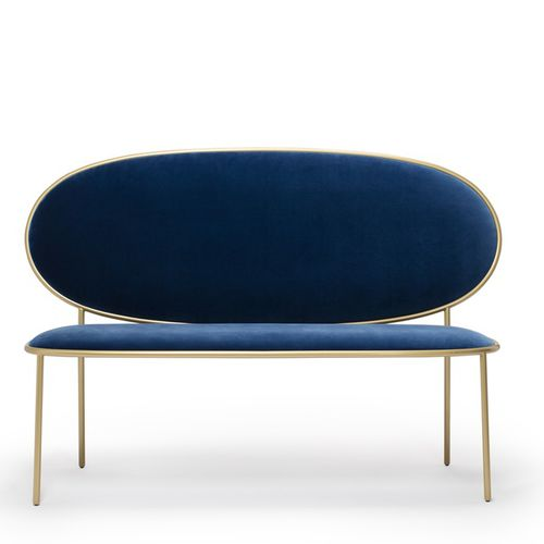contemporary upholstered bench / fabric / leather / with backrest