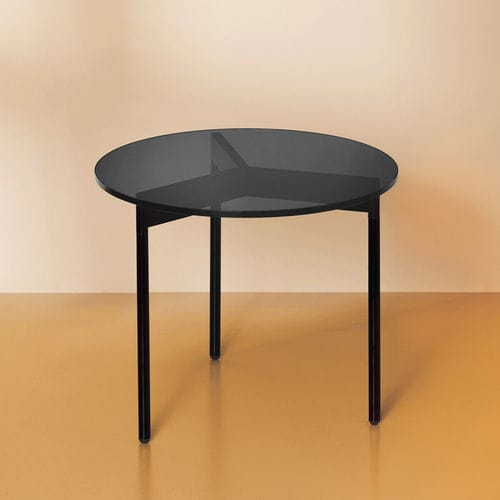 Contemporary Coffee Table From Above Warm Nordic Smoked Glass Powder Coated Steel Base Round
