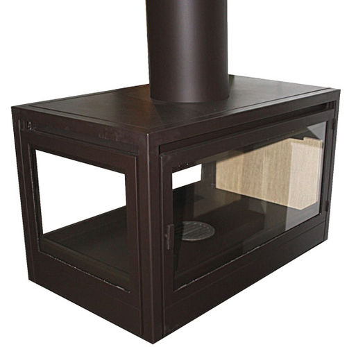 wood-burning fireplace / classic / closed hearth / 3-sided