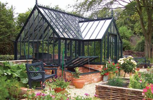 gardening greenhouse / even-span / aluminum frame / glass