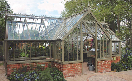 gardening greenhouse / even-span / aluminum frame / glass