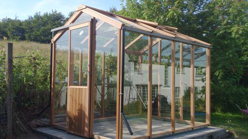 gardening greenhouse / even-span / aluminum frame / wood frame