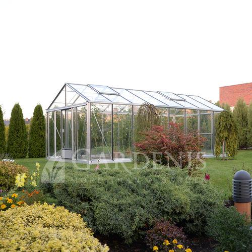 gardening greenhouse / botanical / even-span / aluminum frame