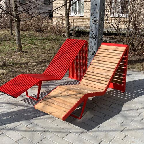 contemporary sun lounger / pine / galvanized steel / powder-coated steel
