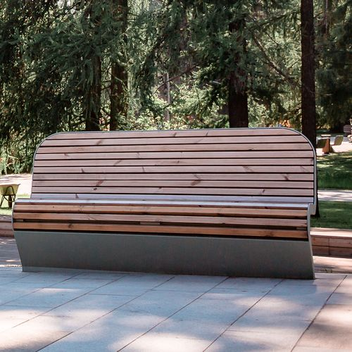 public bench / contemporary / galvanized steel / powder-coated steel