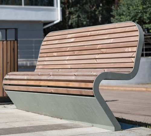 public bench / contemporary / galvanized steel / powder-coated steel