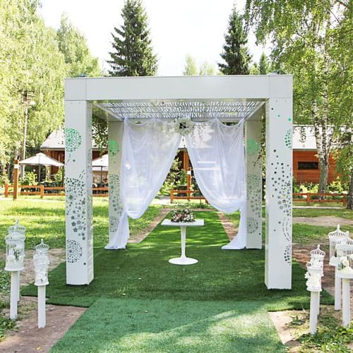steel gazebo / fabric roof / for playgrounds / for hotels