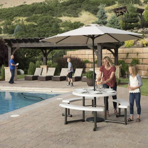 Contemporary Picnic Table 60205g, Lifetime 44 Round Picnic Table