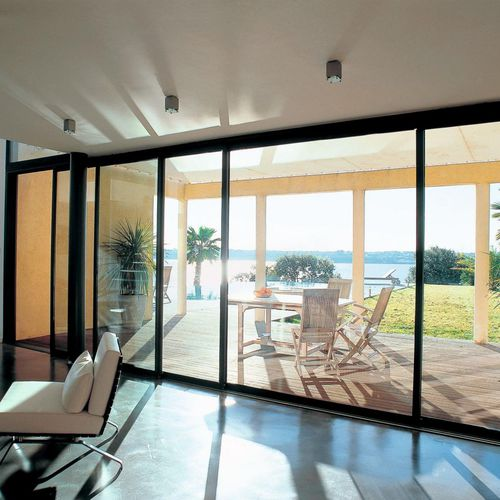 sliding patio door / aluminum / triple-glazed / thermal break