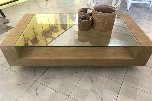 Contemporary Coffee Table Mc 34 El Roure Vell Glass Wooden Base Rectangular