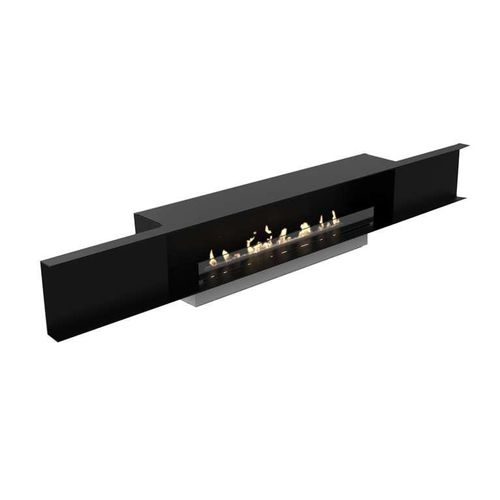 open bioethanol hearth / 1-sided / glass / brushed stainless steel