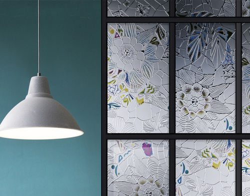 float glass panel / patterned / for interior / for exterior fittings