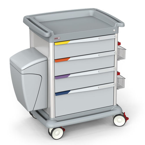 healthcare facility trolley / for hospitals / anodized aluminum / ABS plastic