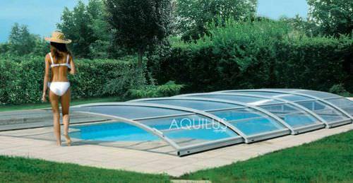 low swimming pool enclosure / sliding / aluminum / manual