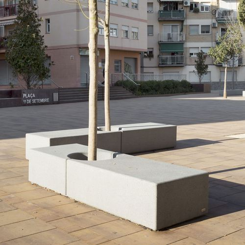 public bench / contemporary / stone / with integrated planter