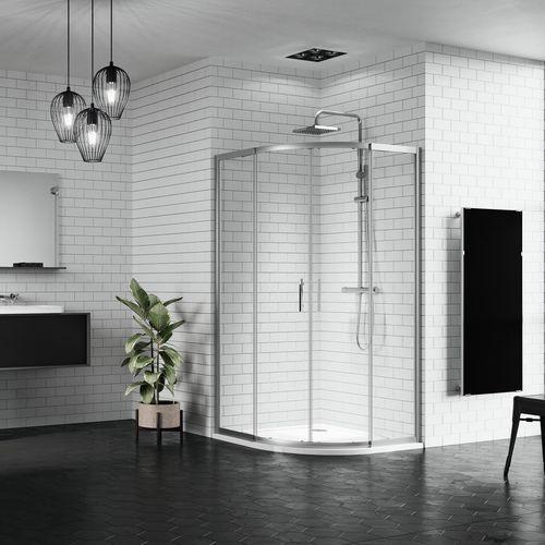 sliding shower screen / corner / curved / glass