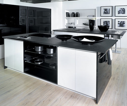 Contemporary Kitchen Delta Blanc Noir Pyram Industries Melamine Island With Integrated Handle