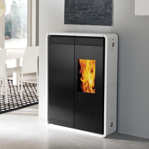 pellet heating stove / contemporary / steel / ceramic